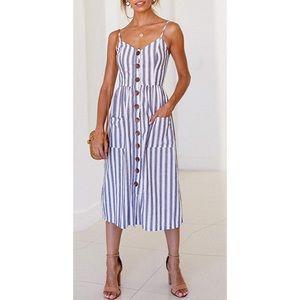 Blue and white stripe button down dress